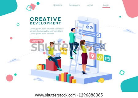 Career application parts, multimedia gadget. Software interacting template for brainstorming. Development display. Developer workspace, mobile build interface, create app. Design flat isometric style.