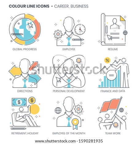 Career, business related, color line, vector icon, illustration set. The set is about businessman, application, finance, employee, office space, recruitment, company, presentation, market.