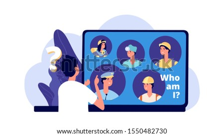 Career choice. Career opportunities illustration. Young man chooses profession. Vector student looking for work in laptop