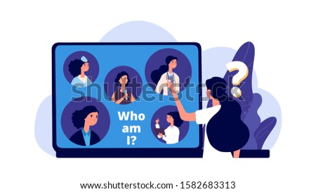 Career choice. Career opportunities illustration. Young woman chooses profession. Vector female student looking for work in laptop
