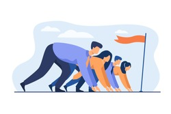 Career competition metaphor. Office professionals race. Employees ready to run, standing at start line with flag. Vector illustration for business opponents, rivalry concept