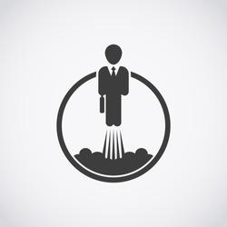 Career development icon. Businessman takes off like a rocket