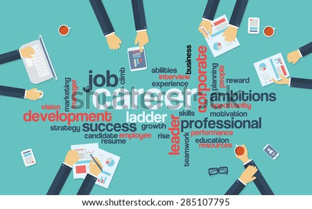 Career development or career ladder word cloud on professional background with businessman in meeting. Flat design concept infographics. Eps10 vector illustration.