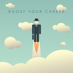 Career development poster template with businessman flying high. Climbing corporate ladder human resources background. Eps10 vector illustration.