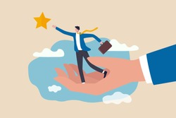 Career development support, assistant or mentor to help reach business goal to achieve target concept, helping hand lift up businessman employee to overcome obstacle reaching the star in the sky.
