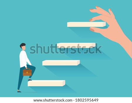 Career Growth Concept. Man Walking Upstairs While Hand Putting Steps Setting New Goals Over Blue Background. Vector Illustration Foto d'archivio ©