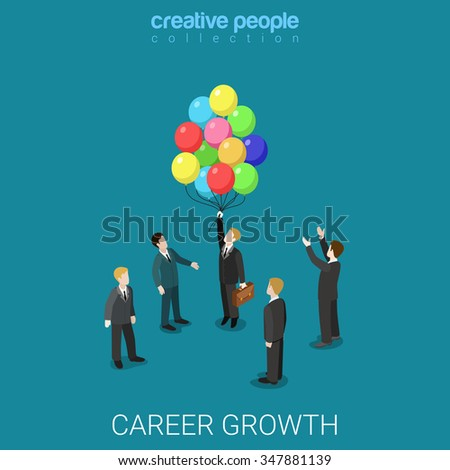 Career growth job change flat 3d isometry isometric business headhunting concept web vector illustration. Businessman fly out from crowd on balloons. Creative people collection.
