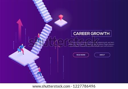 Career growth - modern isometric vector web banner