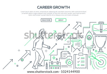Career growth - modern line design style illustration on white background with place for your text. Metaphorical image of a businessman going up the stairs. Contracts, startup, personal development