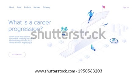 Career growth with young woman running to goal flag. Success or successful job development with businesswoman. Isometric vector illustration. Web banner layout template.