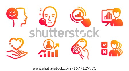 Career ladder, Capsule pill and Presentation board line icons set. Good mood, Hold heart and Graph chart signs. Face search, Opinion symbols. Manager results, Medicine drugs. People set. Vector