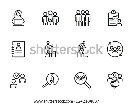 Career ladder line icon set. Set of line icons on white background. Human resource concept. Employee, hiring, HR manager. Vector illustration can be used for topics like work, hiring, career