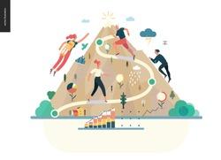 career -modern flat vector illustration concept of career - people climbing the mountain. Climbing up the career ladder process metaphor Creative landing page design template