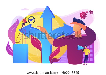 Career opportunity. Life coaching, self development. Path, direction choosing. Decision making, problem solving activity, best decision here concept. Bright vibrant violet vector isolated illustration