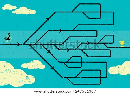 Career Path Businesswoman navigating her career path to success. The woman and maze are on a separate labeled layer from the background.