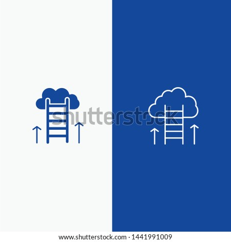 Career Path, Career, Dream, Success, Focus Line and Glyph Solid icon Blue banner Line and Glyph Solid icon Blue banner