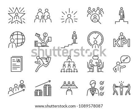 Career path icon set. Included the icons as newbie, job seeker, headhunter, headhunting, first jobber, rookie, promoted and more