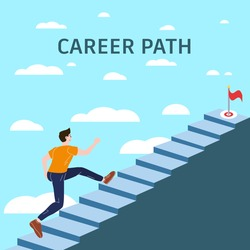 Career Path Young man running up stairway to target. Cuccessful choice employeeman move up path success. Vector illustration