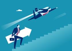 Career progress boost. Businessman overtaking businessman climbing stairs using rocket engine.