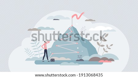 Career success as up direction for work rise achievement tiny person concept. Successful job development and growth direction as mountain climbing metaphor vector illustration. Reach top of plan goal.
