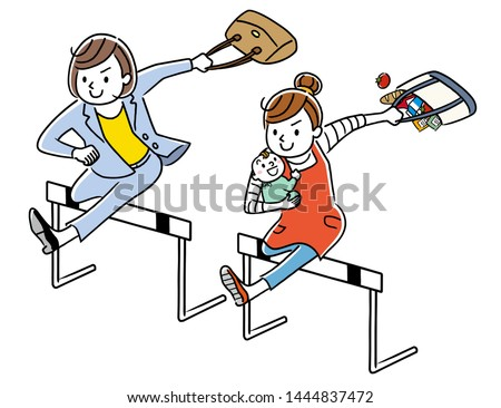 Career woman and housewife jumping over the hurdle