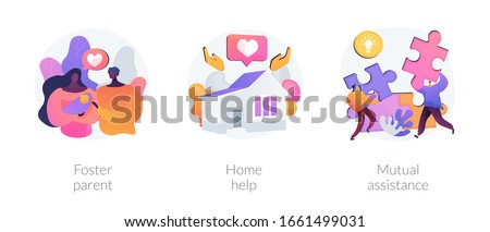 Caregiving and social support services metaphors. Foster parent, home help, mutual assistance. Child adoption, help with domestic chores abstract concept vector illustration set.