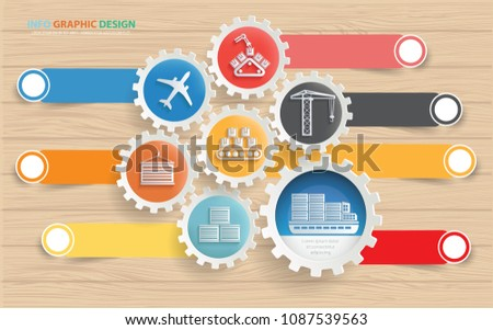 Cargo and logistic info graphic vector design