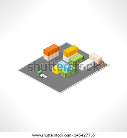 Cargo area with containers. Isometric building.