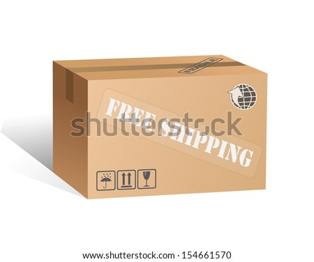 Cargo box cartoon labels free shipping