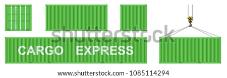 Cargo container set isolated on white background. Colorful box from different sides collection. Freight shipping container hanging on crane hook. Simple design. Flat style vector illustration.