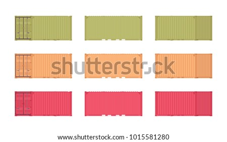 Cargo container set. Large, strong container of metal to store goods during shipment by road, rail, sea or air, different colors. Vector flat style cartoon illustration isolated on white background