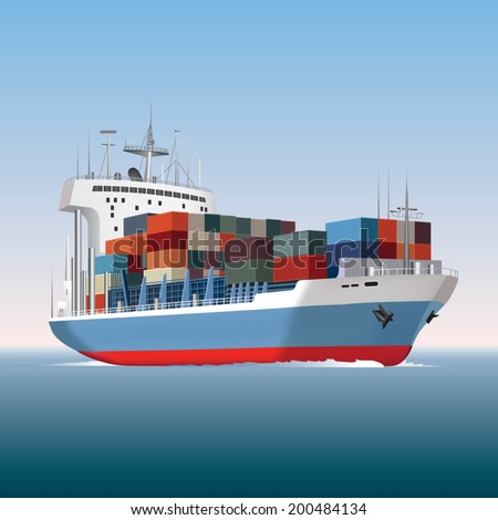 Cargo container ship sailing. Vector illustration