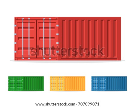 Cargo containers red, blue and green. Shipping container icons set. Vector illustration in trendy flat style isolated on white background