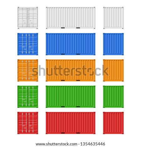 Cargo Containers set for freight shipping and sea export isolated on white background. Front, back and side view. Logistics and transportation Vector Illustration