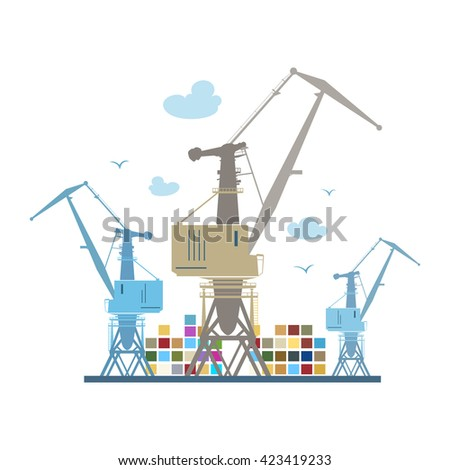 cargo cranes and containers