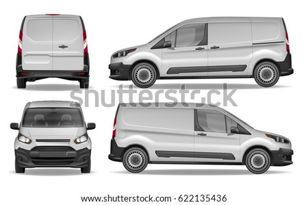 Cargo delivering van vehicle Isolated on white background. Front, side and rear view of Realistic Car. Vector illustration. Car Mockup for Advertising and Corporate identity.