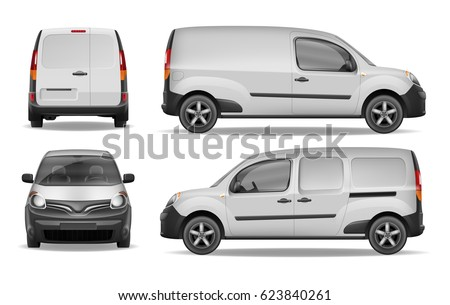 Cargo delivering van vehicle Isolated on white. Front, side and back view of Realistic Mini Van. Vector illustration. Delivery Car Mockup for Advertising and Corporate identity.