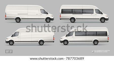Cargo Delivery and Passenger Van vector template. City Mini bus Mockup Template for Branding and Corporate identity design on transport. Realistic White Cargo Van isolated on grey background