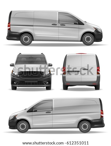 Cargo Delivery Realistic Van vector template for Advertising. Modern cargo transport Mockup. White blank commercial vehicle - delivery van.