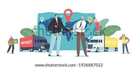 Cargo Export and Import, Logistics Concept. Business Partners Characters Shaking Hands near Freight Trucks and Huge Map with Destination Point, Workers and Clients. Cartoon People Vector Illustration