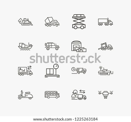 Cargo icon set and double decker bus with suv, cargo barge and scooter. Moped related cargo icon vector for web UI logo design.