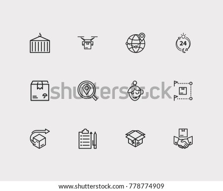 Cargo icons set with logistics, global logistics and distribution. Set of cargo icons also including find address sign for your web app logo UI design.