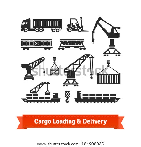 Cargo loading, lifting and delivery icons set. EPS10 vector.