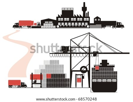 Cargo loading, stuffing and vessel loading - Supply chain vector illustration set (Part Two - from empty container positioning to full container being loaded on a container vessel)