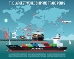 Cargo sea port with cargo freight ships & harbour port cranes also city, flying jet in the sky & world map on background infographics