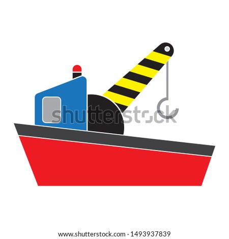 cargo ship crane icon. flat illustration of cargo ship crane vector icon. cargo ship crane sign symbol