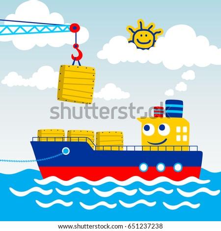 cargo ship in the port  vector