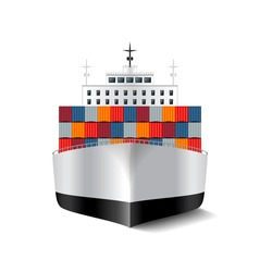 Cargo ship isolated on white photo-realistic vector illustration