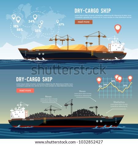 Cargo ship logistics and transportation infographic concept. Tanker cargo ship transports coal sand.