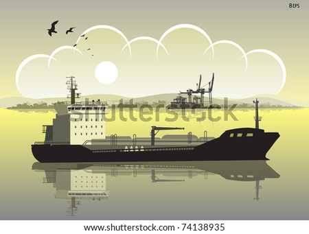 Cargo ship on the background of the port.